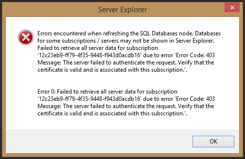 Screenshot of Visual Studio error dialog.