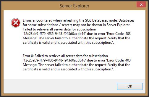 Screenshot of Visual Studio error dialog.