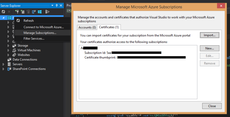 Manage Certificates in Visual Studio