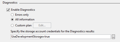 Instance Diagnostics Settings