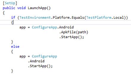 Unit Test Setup Code Snippet