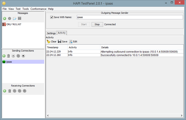 On-premises MLLP client showing connection to host running in the cloud