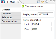 MLLP connector showing host running in the cloud