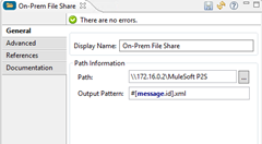 FILE connector showing on-premise network share location