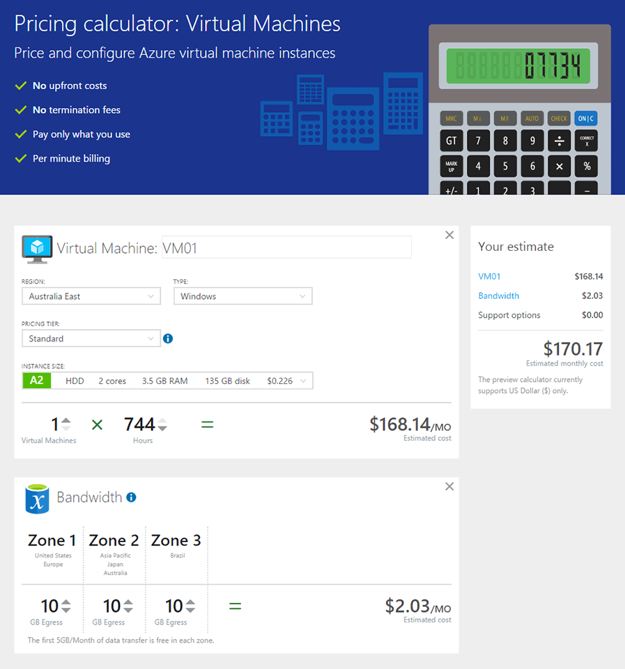 Pricing: Microsoft Azure Pricing Calculator