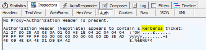 Fiddler used to show Kerberos ticket