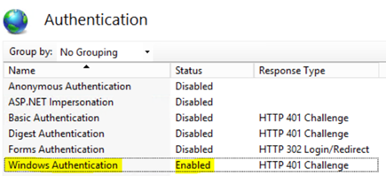 IIS Authentication Settings