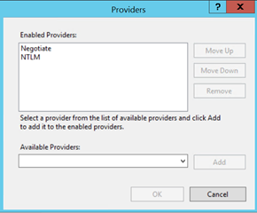 Providers Window showing Negotiate at top
