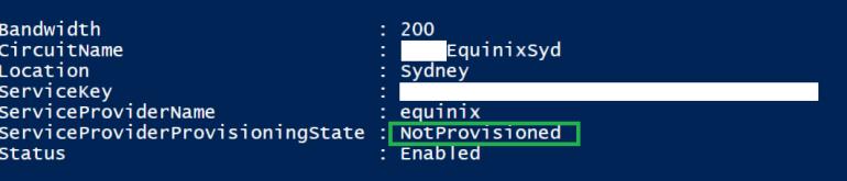Get-AzureDedicatedCircuit Output