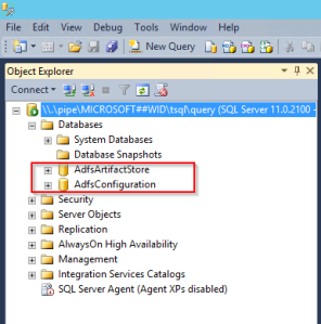 SSMS showing the two ADFS databases