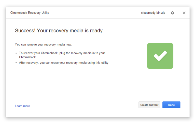 CloudReady recovery media creator.