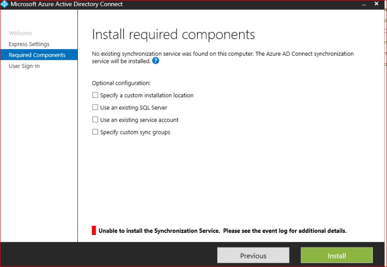 sync install error