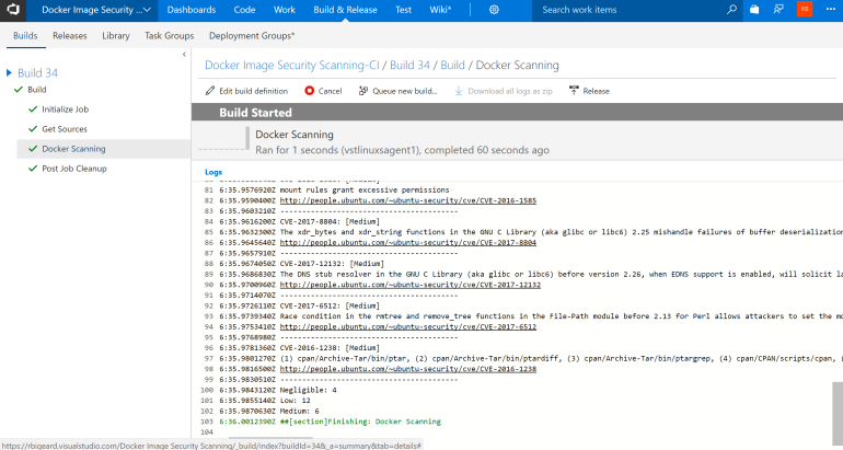 Build output view in VSTS