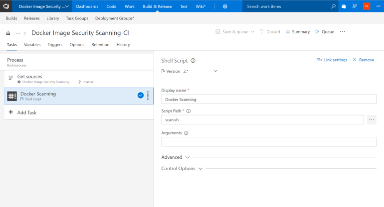 Scanning Task in a VSTS Build