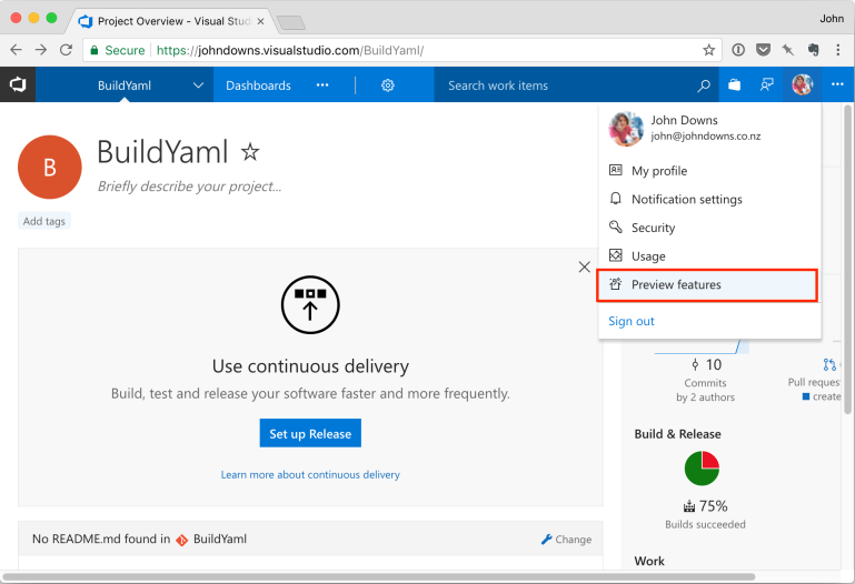 VSTS Preview Features option