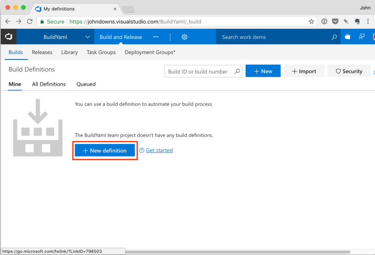 Create new build definition in VSTS