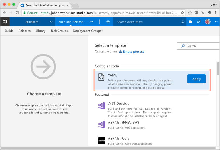 YAML build template in VSTS