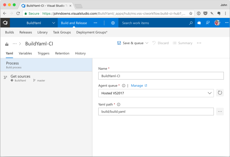 Build configuration in VSTS