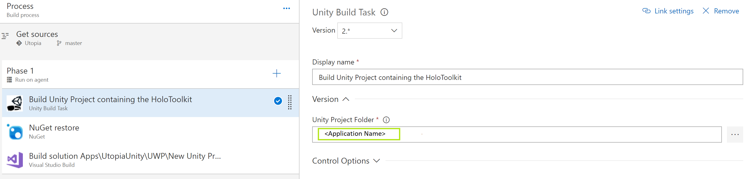 Unity project folder
