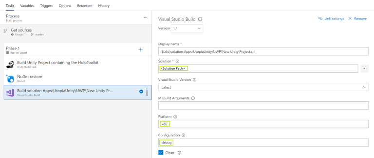 visual studio build task
